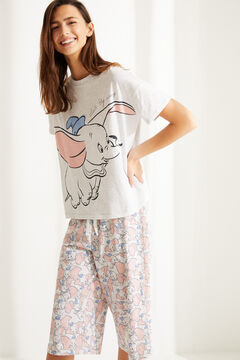 Womensecret Pijama manga corta Capri Dumbo algodón gris gris