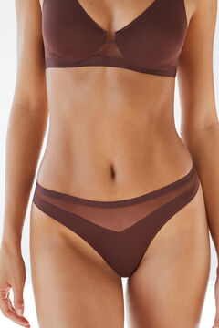 Womensecret Chocolate heat-sealed microfibre and tulle tanga brown