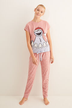 Womensecret Pink, short-sleeved Cookie Monster pyjamas imprimé