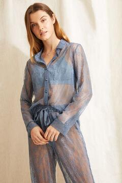 Womensecret Pijama comprido camiseiro azul azul