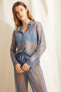 Womensecret Pijama largo camisero azul azul