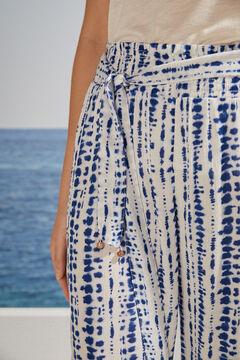 Womensecret Pantalon Capri imprimé tie and dye bleu blanc