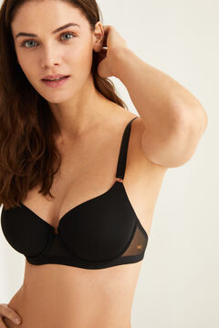Womensecret Black microfibre and tulle padded bra black