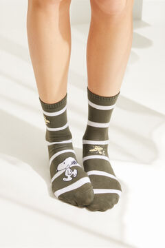 Womensecret Grey striped Snoopy socks green