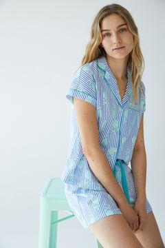 Womensecret Short striped cotton pyjamas blue