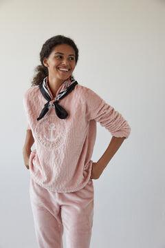 Womensecret Long pink sponge fleece sailor pyjamas pink