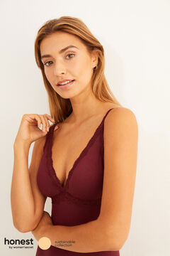 Womensecret Maroon cotton bodysuit with lace detail on the neckline red