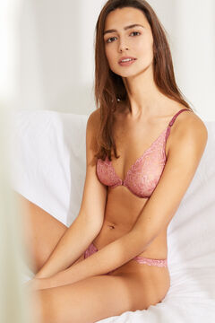 Womensecret PRETTY Green lace halter bra pink