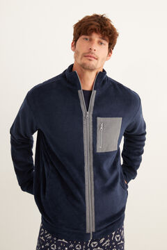 Womensecret Men's zip-up fleece robe blue