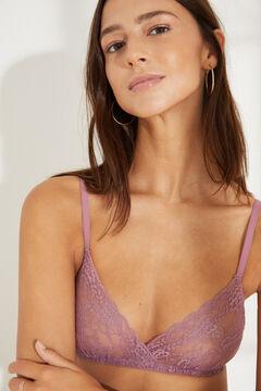 Womensecret NATURAL Dark pink lace triangle bra printed