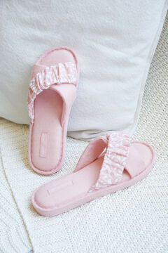 Womensecret Cotton cross strap slippers pink