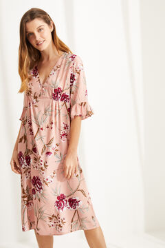 Womensecret Floral short-sleeved midi nightgown pink
