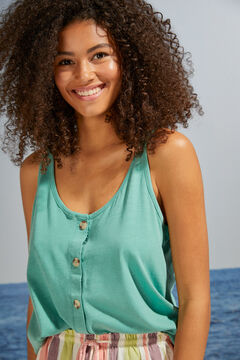 Womensecret T-shirt bretelles 100 % coton vert vert