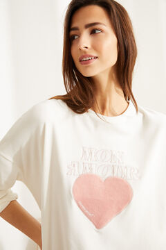 Womensecret Long velvet heart pyjamas beige