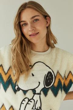 Womensecret Pijama comprido marfim polar Snoopy branco