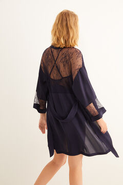 Womensecret Robe de chambre navy satin et dentelle bleu
