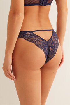 Womensecret Lace Brazilian panty with straps at the back blue