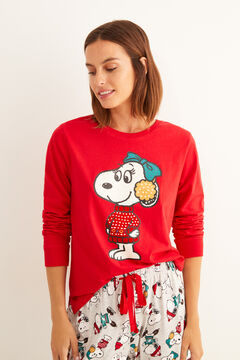 Womensecret Long cotton Snoopy winter pyjamas red