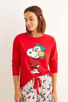 Womensecret Snoopy mintás, téli hosszú pamutpizsama piros