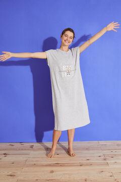 Womensecret Charcoal grey cotton midi nightgown grey
