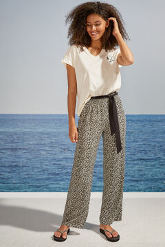 Womensecret Long ditsy floral trousers nude
