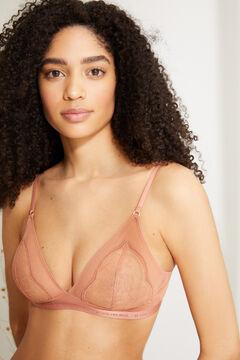 Womensecret NATURAL Sujetador triangular tul y encaje naranja marrón