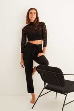 Womensecret Push-up top with high neck and long lace sleeves. black