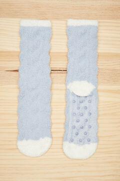 Womensecret Fluffy textured blue socks blue