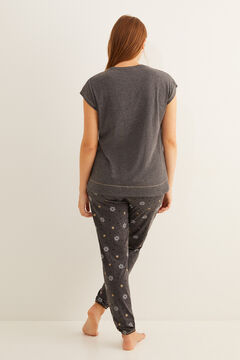 Womensecret Pyjama long gris Snoopy manches courtes gris