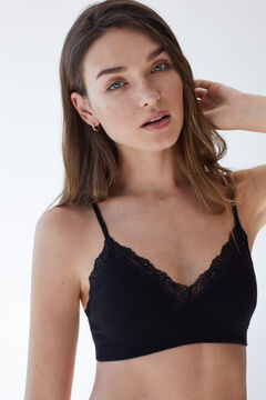 Womensecret Black seamless sustainable top with lace black