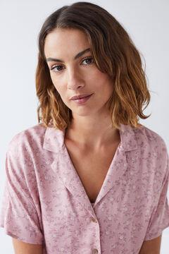 Womensecret Pijama camiseiro comprido flores rosa