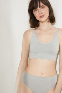 Womensecret Grey seamless halterneck bra top with removable cups grey