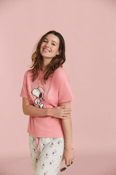 Womensecret Pyjama long manches courtes coton Snoopy rose
