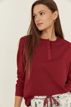Womensecret Red cotton long-sleeved Henley top burgundy