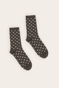 Womensecret Long heart print socks grey