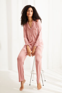Womensecret Classic long pyjamas pink lace detail pink