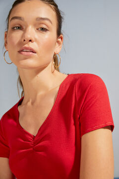Womensecret Red ribbed short-sleeved pyjama top burgundy