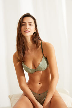 Womensecret GORGEOUS Green lace detail push-up bra beige