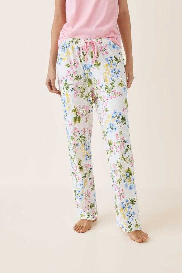 0136845777 Womensecret Pantalón pijama largo flores beige