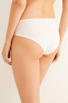 Womensecret White cotton and tulle boyshort panty beige