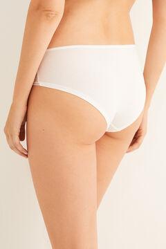 Womensecret Shorty coton et tulle blanc beige