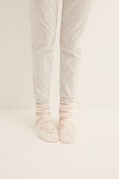 Womensecret Non-slip cosy ankle socks cat nude