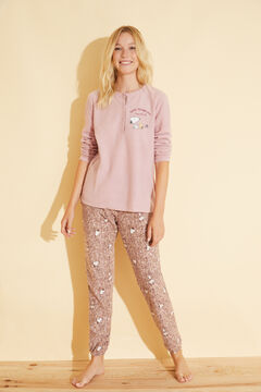 Womensecret Long pink fleecy Snoopy pyjamas pink