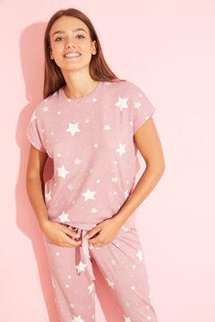 Womensecret Long lilac cotton star pyjamas pink