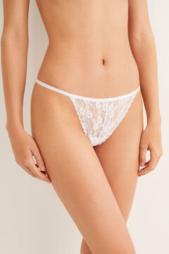 Womensecret Lace strap thong white