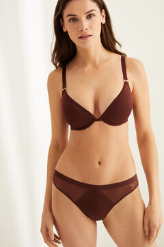 Womensecret Dark maroon microfibre and tulle push-up bra nude