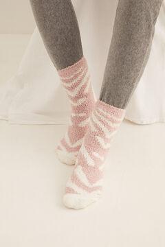 Womensecret Fluffy zebra non-slip ankle socks pink