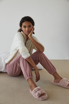 Womensecret Long pink fleece pyjamas pink