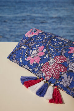 Womensecret 100% cotton floral print towel blue