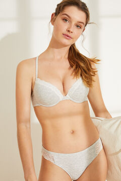 Womensecret Grey lace Brazilian panty  grey